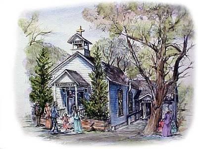 Genoa Drawing - Little Genoa Church by Jonni Hill