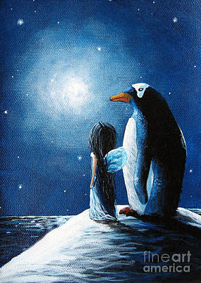 Faery Artists Painting - Little Penguin Fairy By Shawna Erback by Shawna Erback