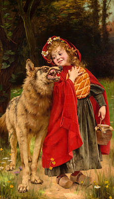 Augustin Painting - Little Red Riding Hood by Gabriel Joseph Marie Augustin Ferrier