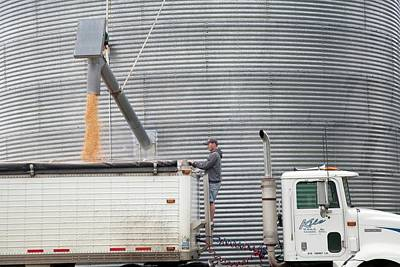 Loading Grain From A Silo Art Print by Jim West