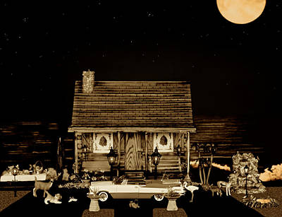 Photograph - Log Cabin Scene With The Classic Old Vintage 1959  Dodge Royal Convertible At Midnight In Sepia  by Leslie Crotty
