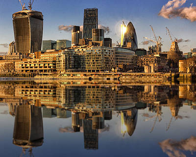 Barges Photograph - London City Skyline by Ian Hufton