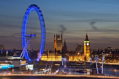 London Eye Photograph - London Night Skyline by Matthew Gibson