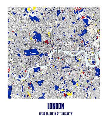 Briton Digital Art - London Piet Mondrian Style City Street Map Art by Celestial Images