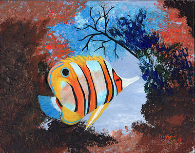 Painting - Longnose Butterfly Fish by J Cheyenne Howell