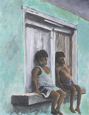 Central Indian Art Painting - Los Ninos by Susan Richardson