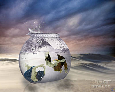 2 Lost Souls Living In A Fishbowl Art Print by Linda Lees