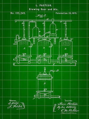 Fermentation Digital Art - Louis Pasteur Beer Brewing Patent 1873 - Green by Stephen Younts