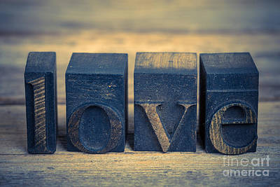 Love In Printing Blocks Art Print by Jane Rix