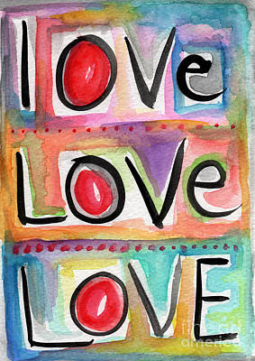Watercolor Mixed Media - Love by Linda Woods