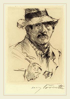 Self-portrait Drawing - Lovis Corinth, Self-portrait Selbstbildnis by Litz Collection