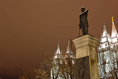 Mormon Temple Photograph - Low Angle View Of A Statue In Front by Panoramic Images