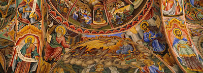 Colored Background Photograph - Low Angle View Of Fresco On The Ceiling by Panoramic Images