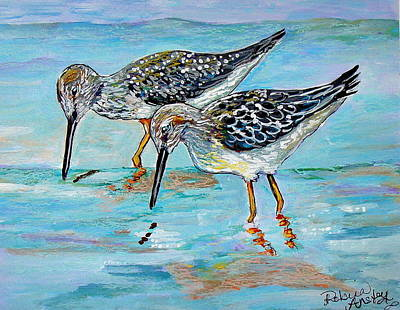Sandpiper Mixed Media - Lunch For Two by Robina Anstey