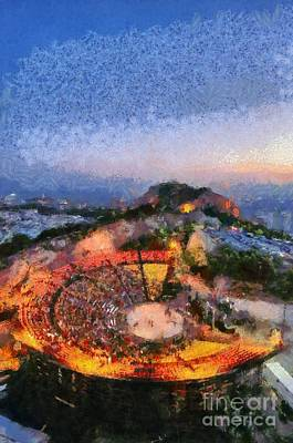 Temple Painting - Theater On Lycabettus Hill by George Atsametakis