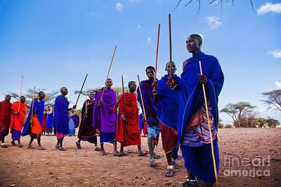 Maasai Men In Their Ritual Dance In Their Village In Tanzania Print by Michal Bednarek