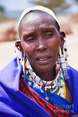 Maasai Woman Portrait In Tanzania Art Print by Michal Bednarek