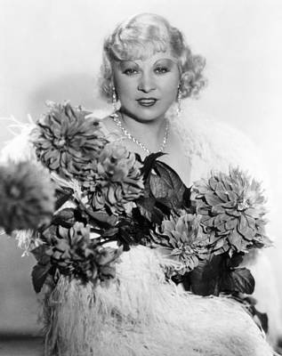 Chandelier Earrings Photograph - Mae West, Ca. 1934 by Everett