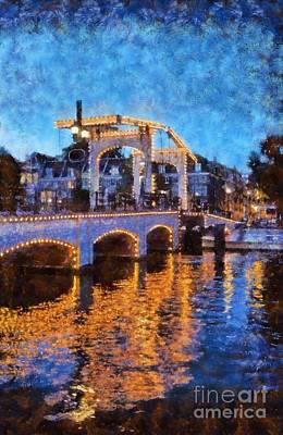 Painting - Magere Brug Bridge In Amsterdam by George Atsametakis