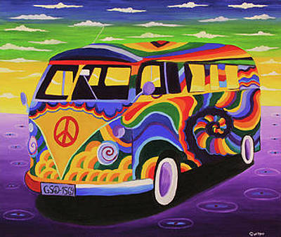 Gustavo Oliveira Painting - Magic Bus by Gustavo Oliveira