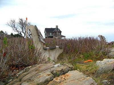 Photograph - Maine Coast Bench And House by Denise Mazzocco