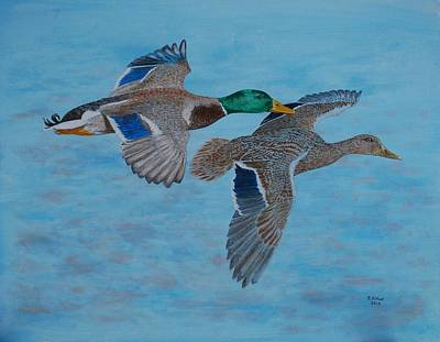 Waterfowl Painting - Mallards In Flight by Brian West