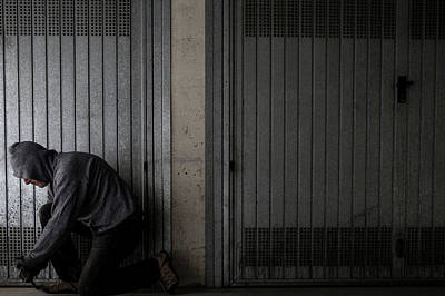Man Breaking Into Building Art Print by Mauro Fermariello