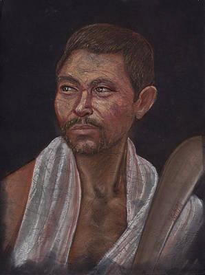 Pastel - Man Of The Kochh Mandai Tribe Agricultural by Prakash Leuva