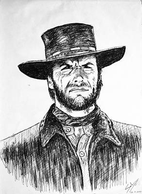 Drawing - Clint Eastwood by Salman Ravish