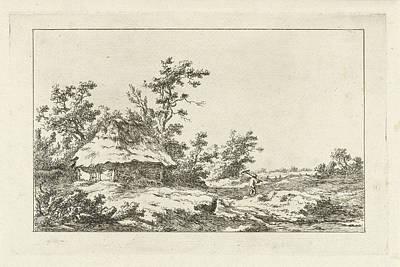 Old Barn Drawing - Man With Rake In A Barn, Carel Lodewijk Hansen by Artokoloro
