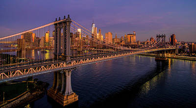 Photograph - Manhattan Bridge At Dawn, New York by Panoramic Images