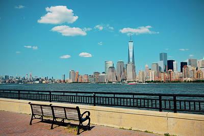 Audrey Hepburn - Manhattan downtown skyline by Songquan Deng