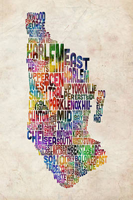 Urban Watercolor Digital Art - Manhattan New York Typographic Map by Michael Tompsett