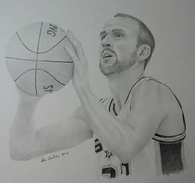 Basket Ball Drawing - Manu Ginobili by Don Cartier