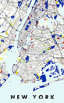 Mondrian Digital Art - Map Of New York In The Style Of Piet Mondrian by Celestial Images