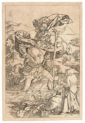 Saint Christopher Drawing - Marcantonio Raimondi Italian, Ca. 14701482 - 15271534 by Litz Collection