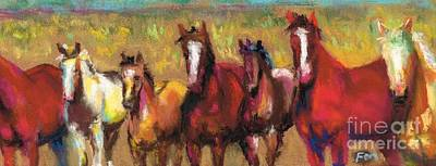 Mares And Foals Art Print by Frances Marino