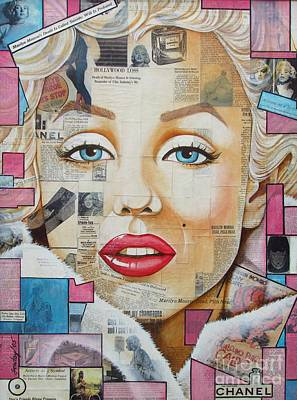 Painting - Marilyn In Pink And Blue by Joseph Sonday