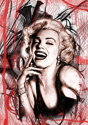 Actors Mixed Media - Marilyn Monroe Art Long Drawing Sketch Poster by Kim Wang