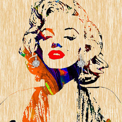 Portrait Mixed Media - Marilyn Monroe Diamond Earring Collection by Marvin Blaine