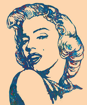 Actors Mixed Media - Marilyn Monroe Stylised Pop Art Drawing Sketch Poster by Kim Wang