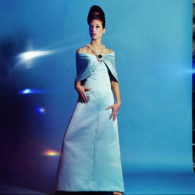 Photograph - Marisa Berenson Wearing A Blue Dress by Bert Stern