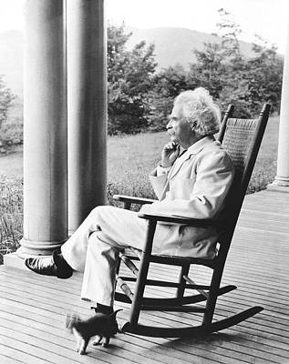 Rocking Chairs Photograph - Mark Twain On A Porch by Underwood Archives