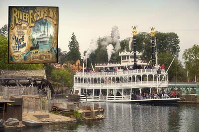 Beauty Mark Digital Art - Mark Twain Riverboat Signage Frontierland Disneyland by Thomas Woolworth