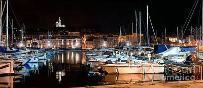 Quay Photograph - Marseille France Panorama At Night by Michal Bednarek
