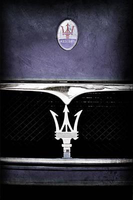 Transportation Photograph - Maserati Hood - Grille Emblems by Jill Reger