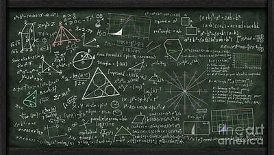 Math Digital Art - Maths Formula On Chalkboard by Setsiri Silapasuwanchai