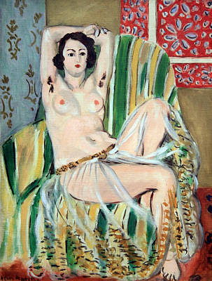 Cora Wandel Photograph - Matisse's Odalisque Seated With Arms Raised In Green Striped Chair by Cora Wandel