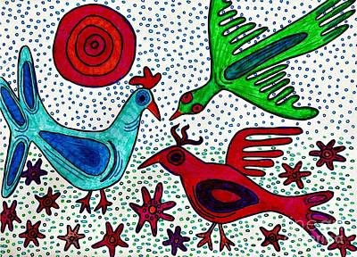 Mayan Drawing - Mayan Birds by Sarah Loft
