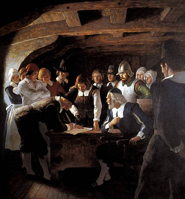 Fine Art In America Painting - Mayflower Compact, 1620 by Granger